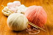 Roll Of White And Pink Soft Knitting Yarn And Wattled Plate With Zephyr