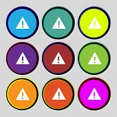 Attention Sign Icon. Exclamation Mark. Hazard Warning Symbol. Set Colourful Buttons Vector
