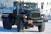 NIZHNY NOVGOROD. RUSSIA. FEBRUARY 17, 2015. Military fuel truck