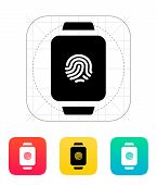 Fingerprint on smart watch icon.