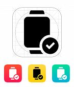 Accept sign on smart watch icon.