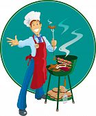 pic of frizzle  - illustration of a retro style barbeque chef - JPG