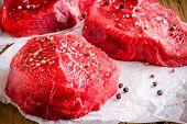 Raw Steak With Sea Salt And Pepper