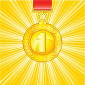 The golden medal on shiny beautiful background