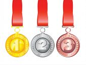 Three medals isolated on white background