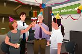 pic of office party  - A vector illustration of employees in the office celebrating a happy retirement party of a coworker - JPG