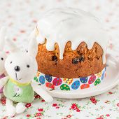 Kulich, Russian Sweet Easter Bread Topped With Sugar Glaze