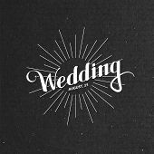 illustration of handwritten Wedding retro label