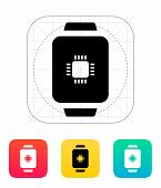 CPU in smart watch icon.