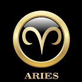 foto of oval  - Aries zodiac sign in oval frame vector Illustration - JPG