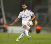 BARCELONA - OCT, 29: Alvaro Arbeloa of Real Madrid during the Spanish League match between Espanyol and Real Madrid at the Estadi Cornella on October 29, 2014 in Barcelona, Spain