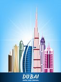 Colorful City of Dubai UAE Famous Buildings
