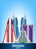 Colorful City of Manama Bahrain Famous Buildings