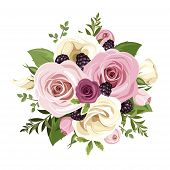 image of blackberries  - Vector bouquet of pink and white roses and lisianthus flowers - JPG