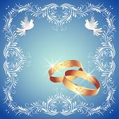 image of ring-dove  - Card with wedding rings and two doves in ornament frame - JPG