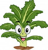 Mascot Illustration of a Kale Rooted to the Ground