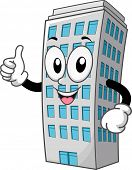 Mascot Illustration of a Building Giving a Thumbs Up