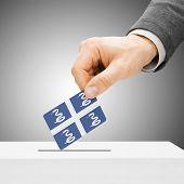 Voting Concept - Male Inserting Flag Into Ballot Box - Martinique