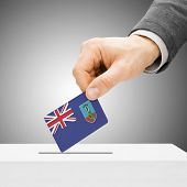 Voting Concept - Male Inserting Flag Into Ballot Box - Montserrat