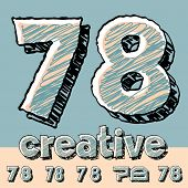 Vector set of funny sketch alphabet. Vector illustration of hand drawing font. Numbers 7 8