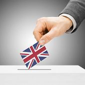 Voting Concept - Male Inserting Flag Into Ballot Box - United Kingdom