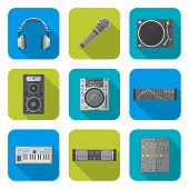 various color flat style sound devices icons set
