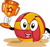 Mascot Illustration of a Beach Volleyball Holding a Trophy