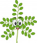 Mascot Illustration of a Moringa Stalk Smiling Happily