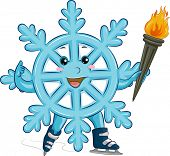 Mascot Illustration of a Snowflake Carrying a Flaming Torch
