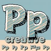 Funny sketch alphabet. Vector illustration of hand drawing font. Letter P