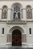 ZAGREB, CROATIA - APRIL 26, 2014: Church of Saints Cyril and Methodius (circa 1880) in Cirilometodska street of historic Upper Town in Zagreb, Croatia. Architect Hermann Bolle
