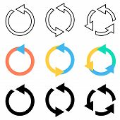 image of arrowhead  - Vector circle arrows refresh reload recycle icons set - JPG