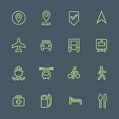 light green outline various map navigation icons set