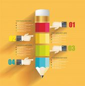 Business Design Template With Pencil And Man's Hands.