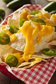 pic of nachos  - Homemade Nachos with Cheddar Cheese and Jalapenos - JPG