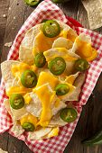 picture of jalapeno  - Homemade Nachos with Cheddar Cheese and Jalapenos - JPG