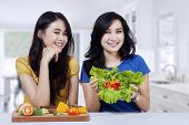 Women With Fresh And Healthy Food