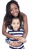 Afro American mother and son on white background. Afro American