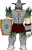 Horned Knight Full Armor Shield Cartoon