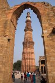 Delhi, India - November 4: Unidentified People Walk Around Qutub Minar Complex On November 4, 2014 I