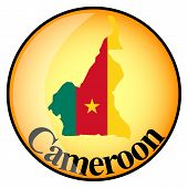 Orange Button With The Image Maps Of Cameroon