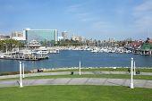 Rainbow Harbor And Long Beach Skyline