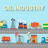 Factory oil building industry and technology concept