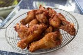 pic of southern fried chicken  - Homemade fried chicken drumsticks cooking with original thai style - JPG
