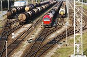 image of nonrenewable  - Oil transportation on railroad and locomotyves in station - JPG