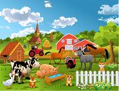 stock photo of farm landscape  - farm animals - JPG