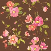 Roses Background - Seamless Floral Shabby Chic Pattern - in vector