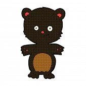 retro comic book style cartoon happy black bear