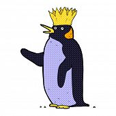 stock photo of emperor  - retro comic book style cartoon emperor penguin waving - JPG