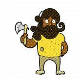 retro comic book style cartoon lumberjack with axe